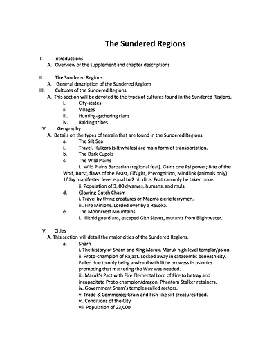 Sundered Regions Outline