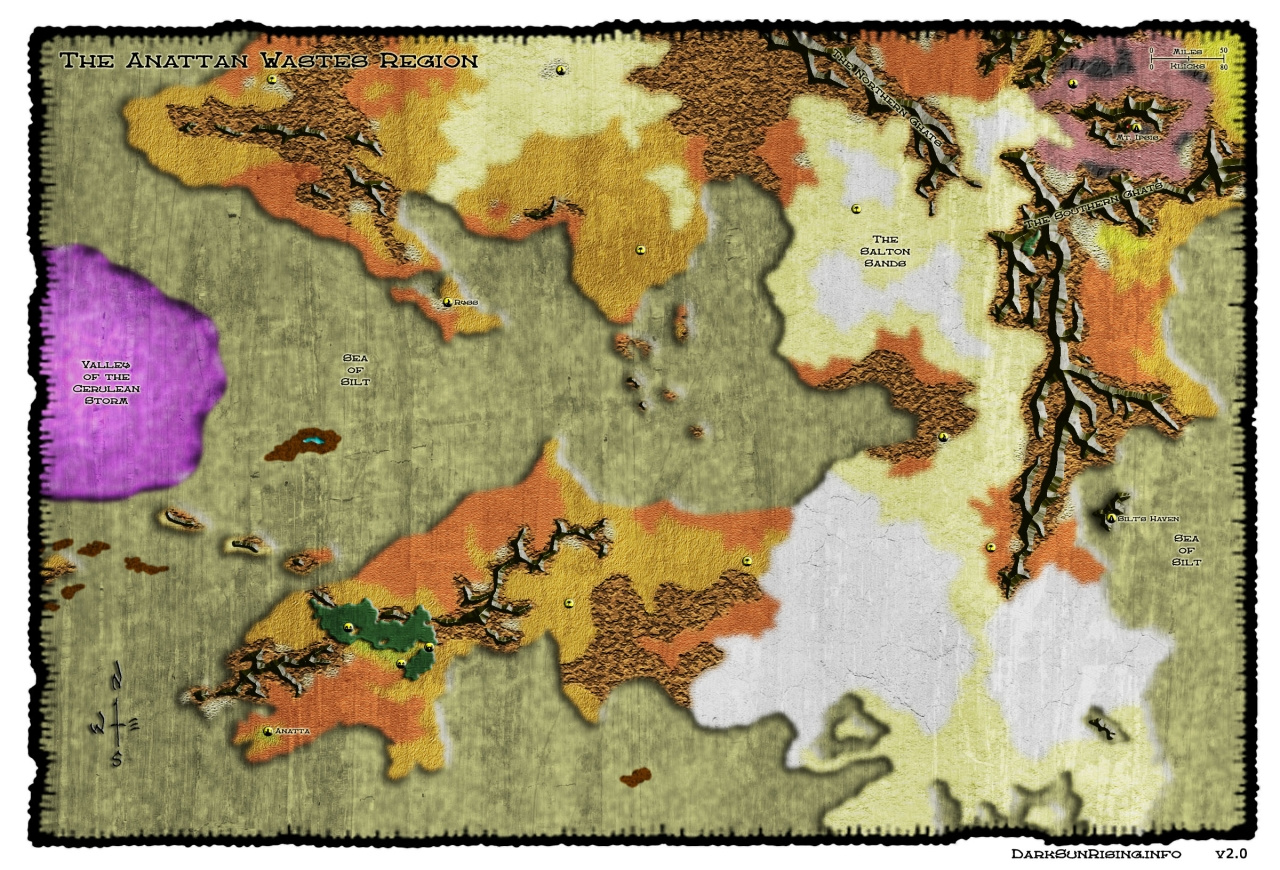 Athas World Map.East Side Of The Sea Of Silt Setting Arena